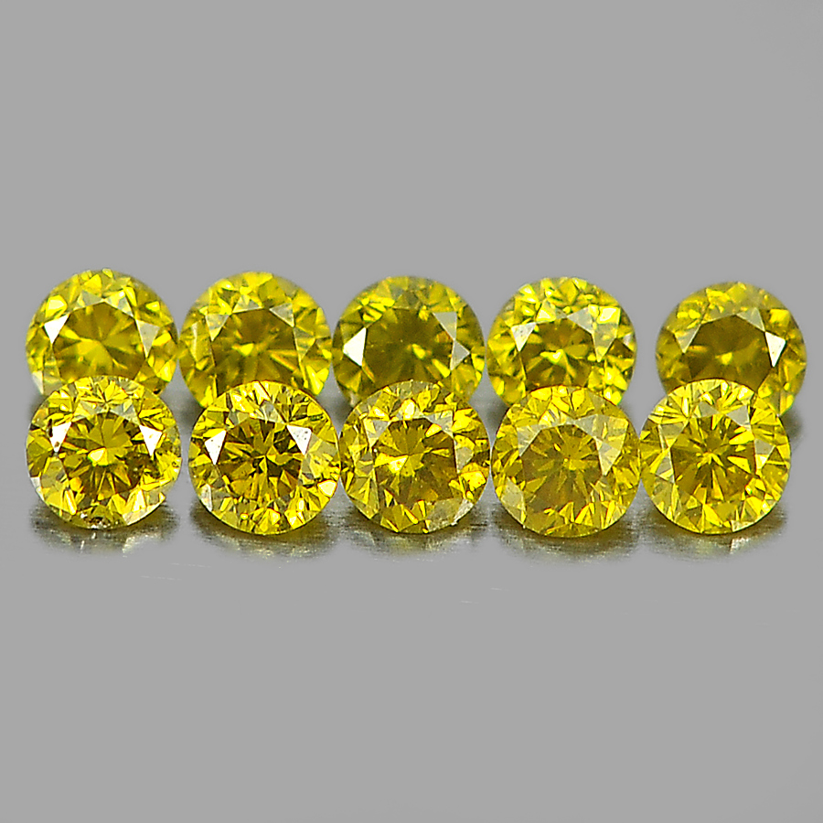 0.12 Ct. 10 Pcs. Natural Yellow Loose Diamond Round Brilliant Cut 1.4 Mm