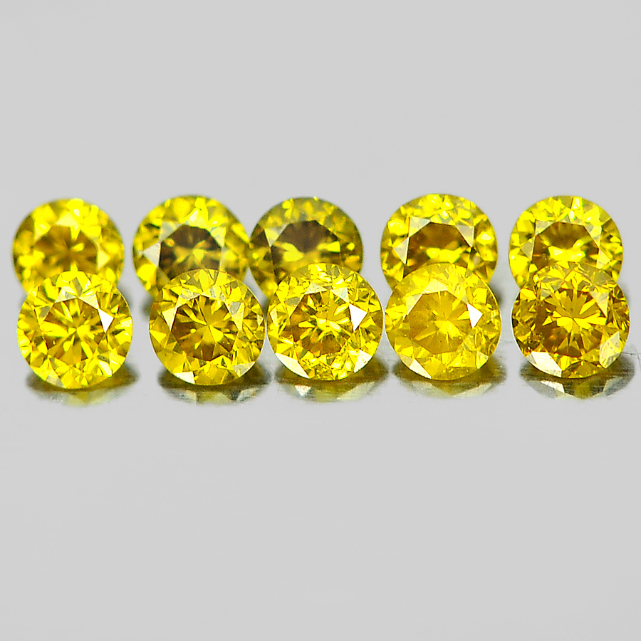 0.15 Ct. 10 Pcs. Good Color Round Brilliant Cut Natural Yellow Loose Diamond