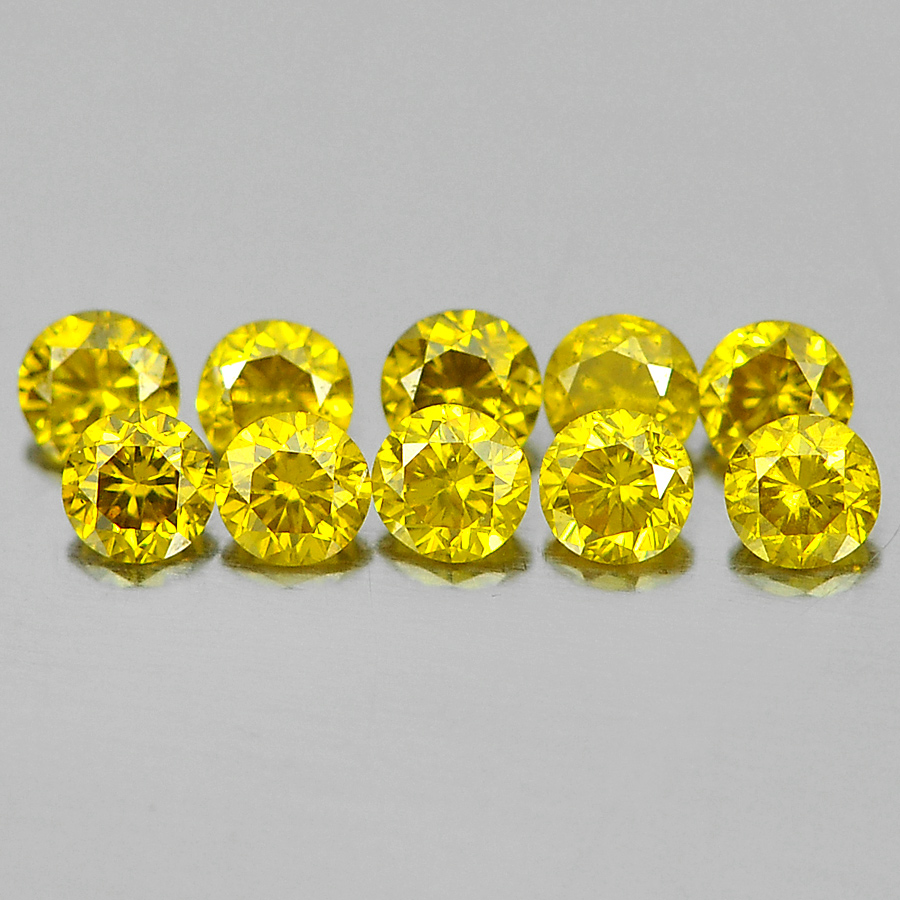 0.14 Ct. 10 Pcs. Sparkling Round Brilliant Cut Natural Yellow Loose Diamond
