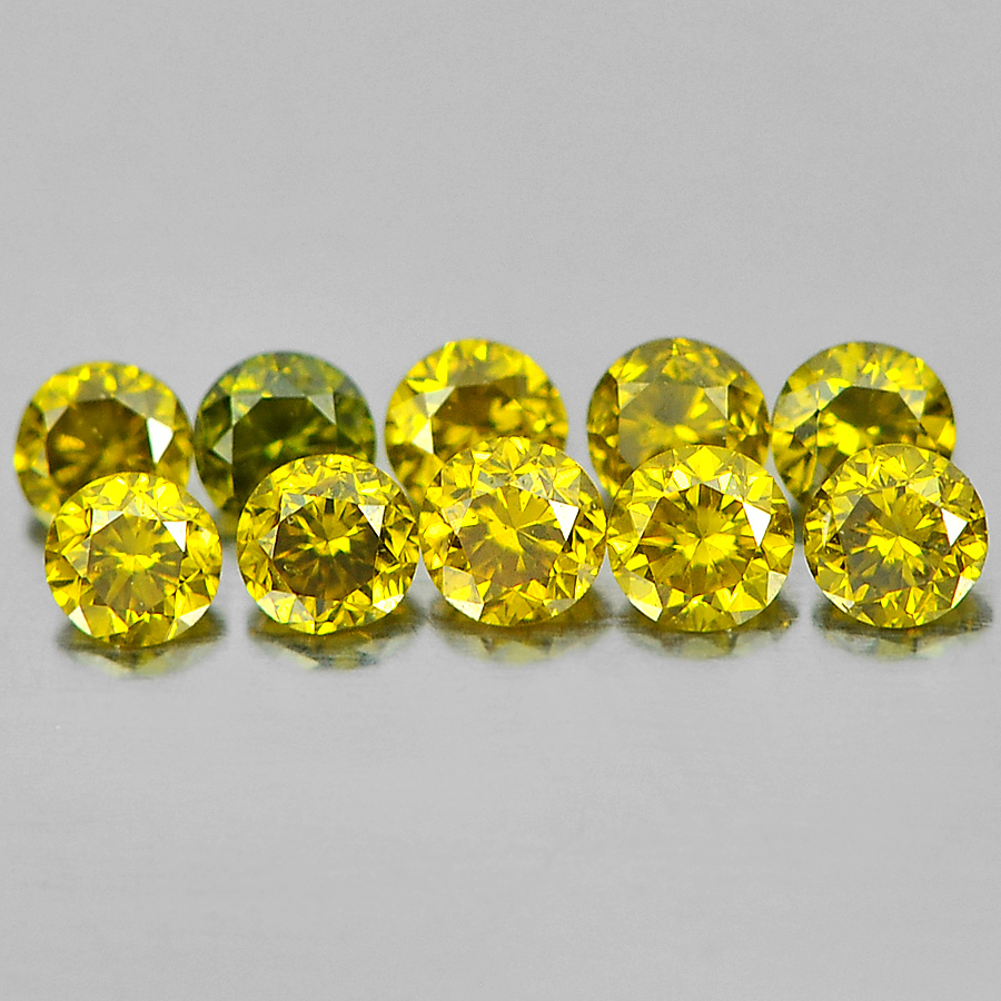 0.15 Ct. 10 Pcs. Round Brilliant Cut Natural Yellow Loose Diamond From Belgium
