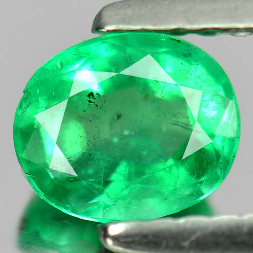 0.74 Ct. Calibrate Size 6 x 5 mm. Oval Natural Rich Green Emerald