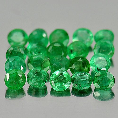 1.30 Ct. 20 Pcs. Round Natural Gems Green Emerald Size 2.5 x 2.5 Mm.