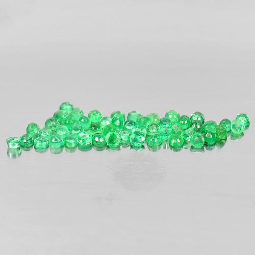 Unheated 1.54 Ct. 50 Pcs. Round Shape 1.9 Mm. Natural Gemstones Green Emerald