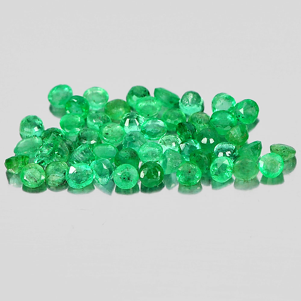 Unheated 1.48 Ct. 50 Pcs. Round Shape 1.8 Mm. Natural Gemstones Green Emerald