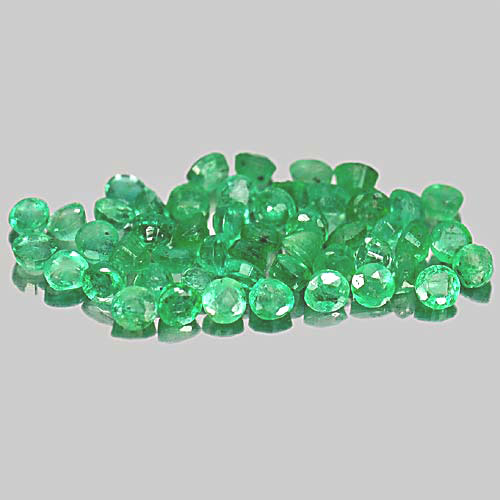 1.41 Ct. 50 Pcs. Good Round Natural Gems Green Emerald Unheated