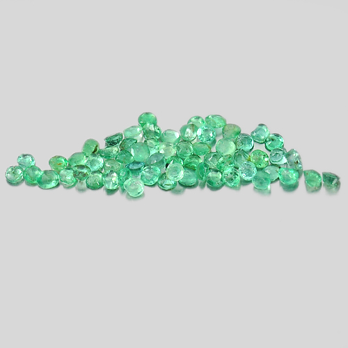 Unheated 1.72 Ct. 60 Pcs. Round Shape 1.9 Mm. Natural Gems Green Emerald