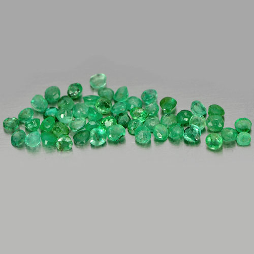 1.72 Ct. 50 Pcs. Round Shape Size 2 Mm Natural Gemstones Green Emerald