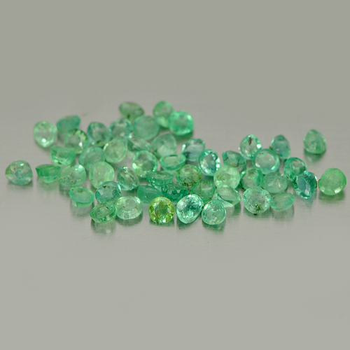 Unheated 1.75 Ct. 50 Pcs. Round Shape Natural Gemstones Green Emerald Columbia