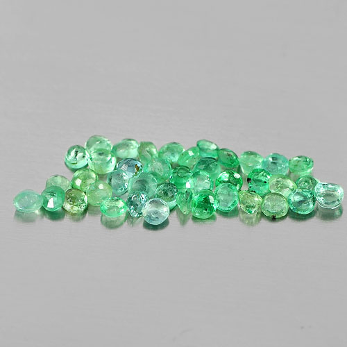1.02 Ct. 40 Pcs. Alluring Natural Green Emerald Round Shape From Columbia