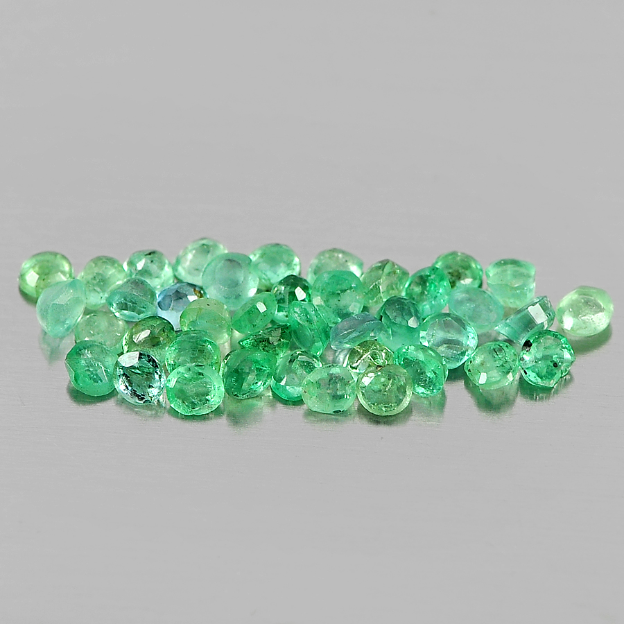 1.15 Ct. 40 Pcs. Round Shape Natural Gems Green Emerald From Columbia