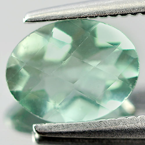 Unheated 1.21 Ct. Oval Checkerboard Natural Gem Green Fluorite From Brazil