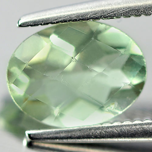 Unheated 1.38 Ct. Oval Checkerboard Natural Gemstone Green Flourite From Brazil