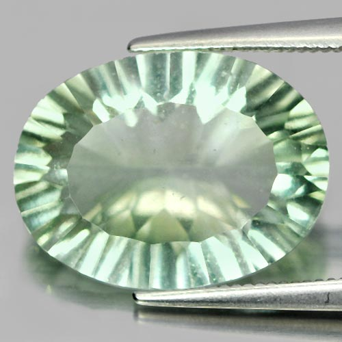 Unheated 9.56 Ct. Oval Concave Cut Natural Gemstone Green Flourite From Brazil