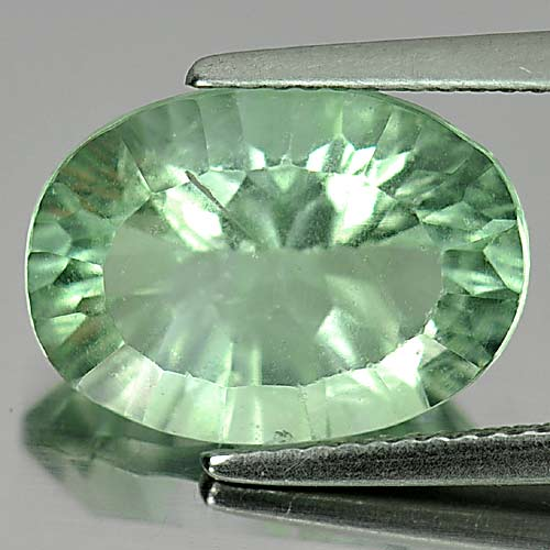 Unheated 7.44 Ct. Oval Concave Cut Natural Gemstone Green Fluorite From Brazil