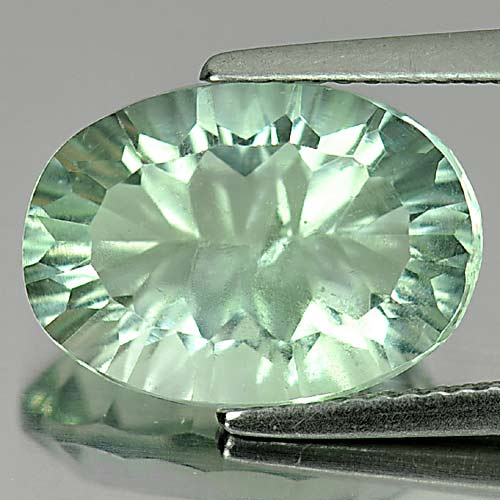 Unheated 7.12 Ct. Oval Shape Natural Gemstone Green Fluorite From Brazil