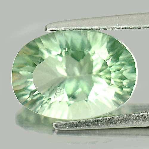 Unheated 7.26 Ct. Oval Concave Cut Natural Gem Green Fluorite  From Brazil