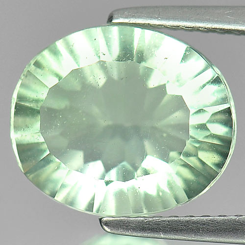 Unheated 4.88 Ct. Oval Concave Cut Natural Gem Light Green Fluorite
