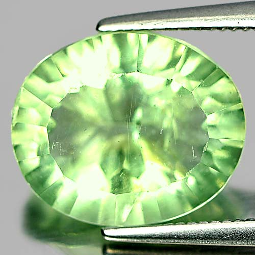 Oval Concave Cut 5.42 Ct. Nice Natural Gem Green Fluorite