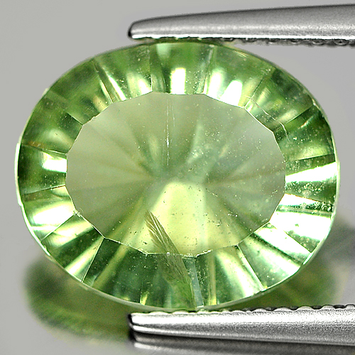 Unheated 4.81 Ct. Oval Concave Cut Natural Gemstone Green Fluorite From Brazil