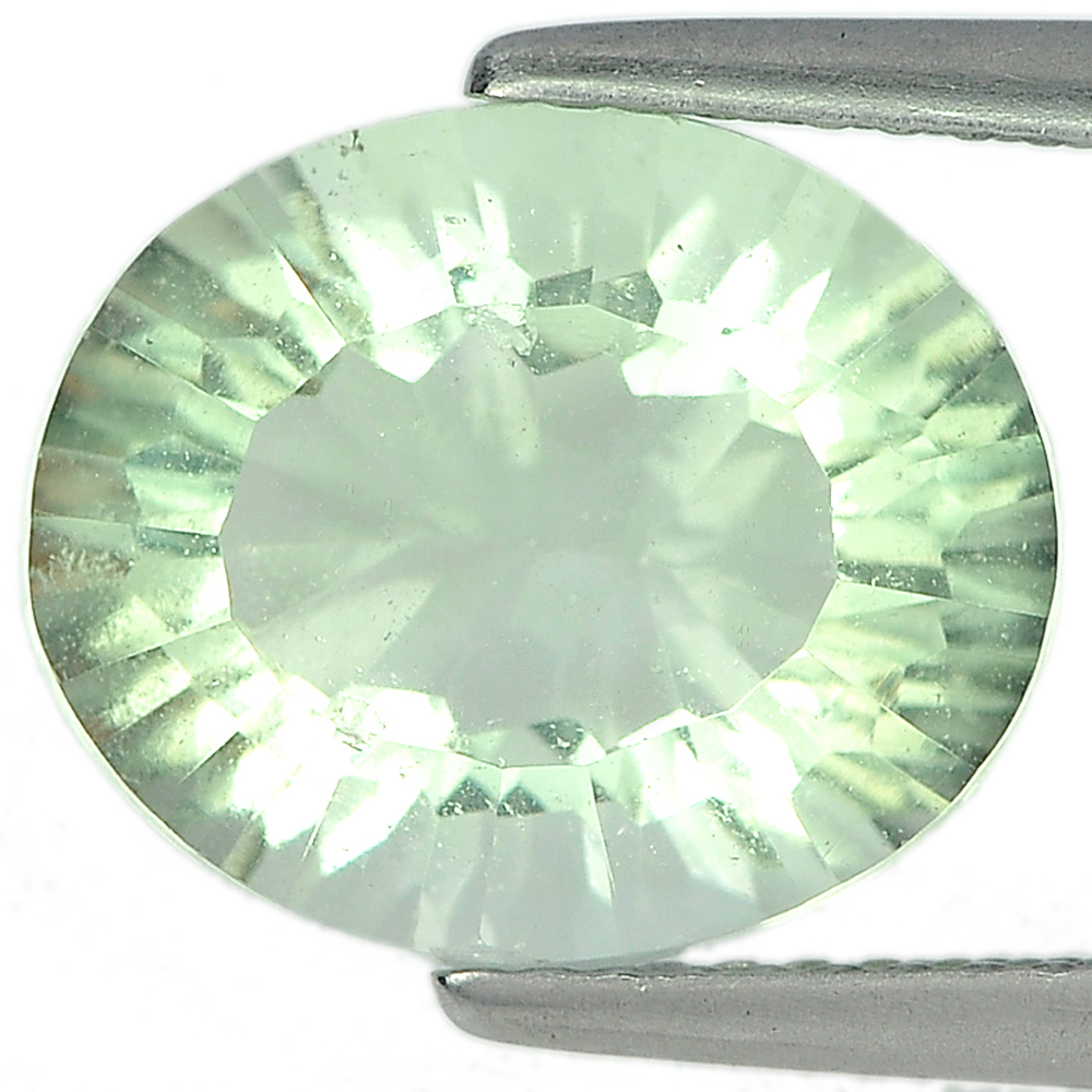 Unheated 6.10 Ct. Oval Concave Cut Natural Green Fluorite Gemstone Brazil