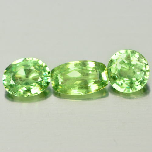 1.04 Ct. 3 Pcs Natural Green Demantoid Garnet Unheated