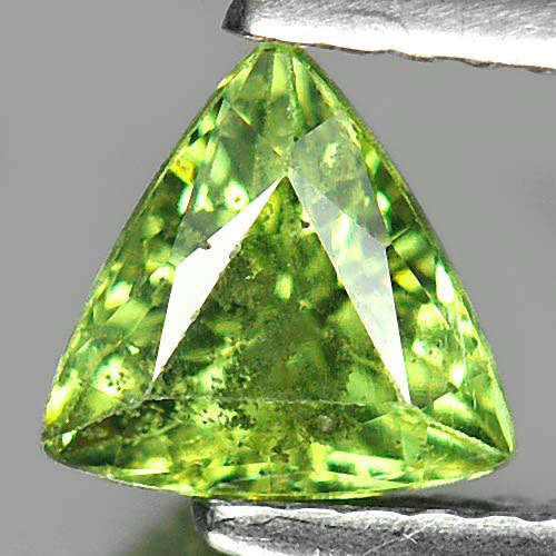 Unheated 1.03 Ct. Trilliant Natural Gem Green Demantoid Garnet