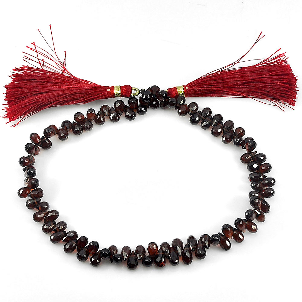 Unheated 112.00 Ct. Briolette Natural Gemstones Red Garnet Beads Length 10 Inch