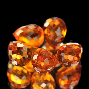 2.83 Ct. 5 Pcs. Briolette Natural Reddish Orange Spessartine Garnet