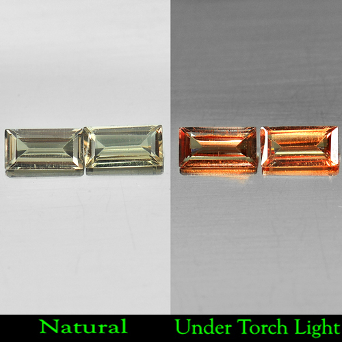 0.98 Ct. Matching Pair Baguette Shape Natural Gem Color Change Garnet Unheated