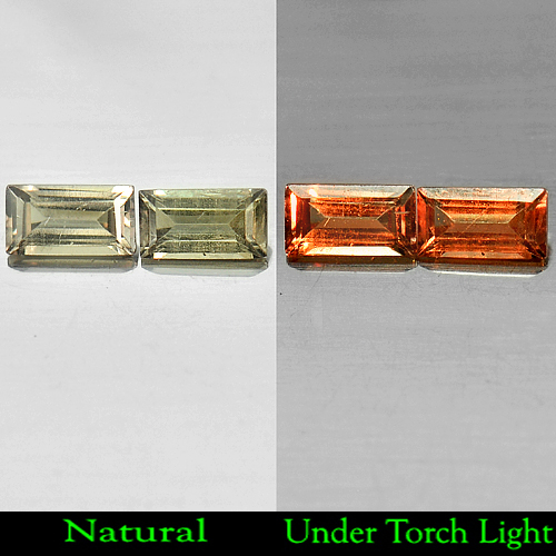 1.05 Ct. Matching Pair Natural Color Change Garnet Baguette Shape Unheated