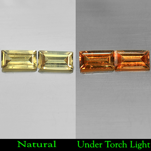 1.03 Ct. Matching Pair Baguette Shape Natural Color Change Garnet Unheated