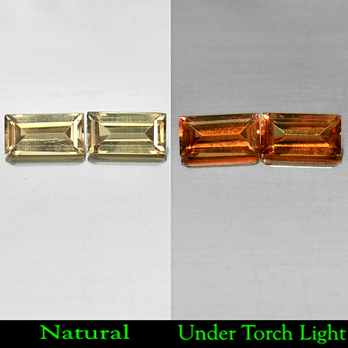 1.01 Ct. Matching Pair Baguette Shape Natural Color Change Garnet Gemstones