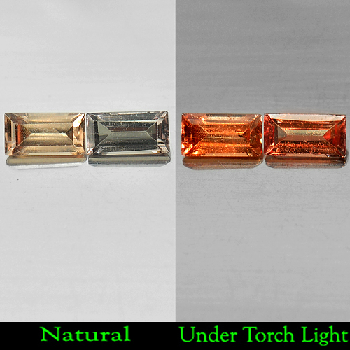 1.27 Ct. Matching Pair Baguette Shape Natural Gem Color Change Garnet