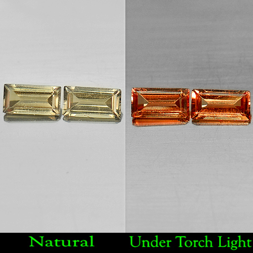 0.95 Ct. Matching Pair Natural Color Change Garnet Gemstones Baguette Shape