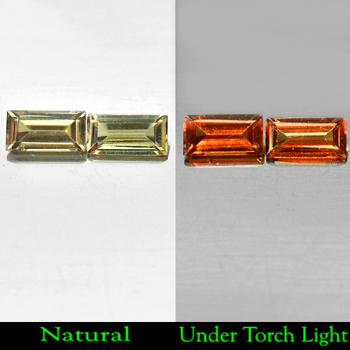 1.02 Ct. Matching Pair Natural Color Change Garnet Gemstones Baguette