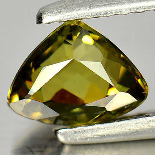1.08 Ct. Natural Gem Greenish Yellow Demantoid Garnet Trilliant Shape Unheated