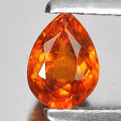 0.65 Ct. Pear Natural Gem Orange Spessartine Garnet From Namibia