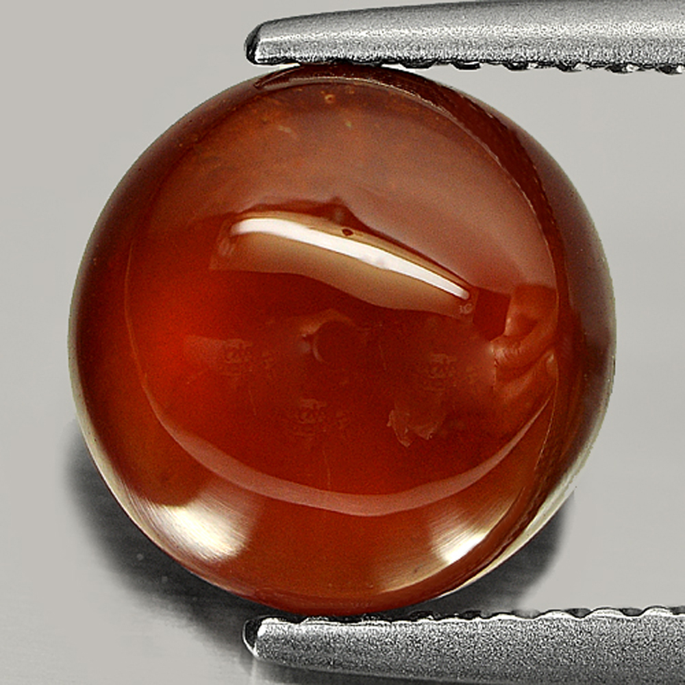 3.47 Ct. Geniune Natural Gem Red Orange Hessonite Garnet Round Cabochon