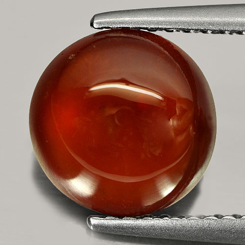 3.28 Ct. Nice Natural Gem Red Orange Hessonite Garnet Round Cabochon