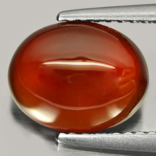 3.17 Ct. Geniune Natural Gem Red Orange Hessonite Garnet Oval Cabochon