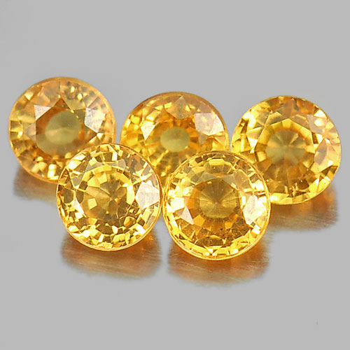 1.60 Ct.  5 Pcs. Round Shape Natural Gems Orange Spessartine Garnet From Namibia