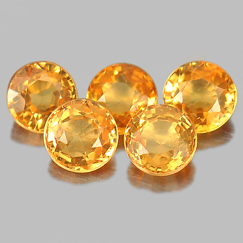 1.35 Ct.  5 Pcs. Round Shape 3.6 Mm. Natural Gemstone Orange Spessartine Garnet