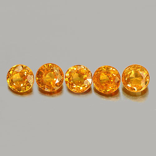 1.31 Ct. 5 Pcs. Round 3.5 Mm. Natural Gemstone Orange Spessartine Garnet Namibia