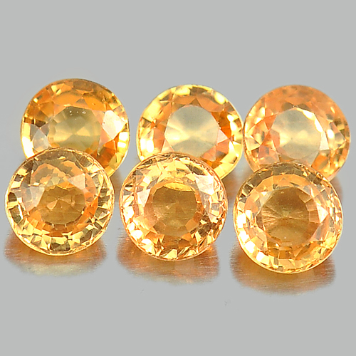 1.12 Ct. 6 Pcs. Unheated Round Shape Orange Natural Gems Spessartine Garnet