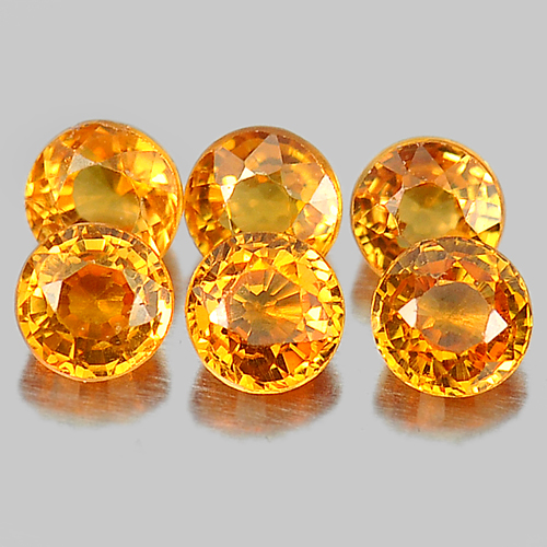 1.22 Ct. 6 Pcs. Natural Gems Round Shape Orange Spessartine Garnet Unheated