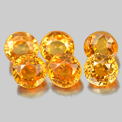 1.29 Ct. 6 Pcs. Round Shape Orange Natural Gems Spessartine Garnet Unheated