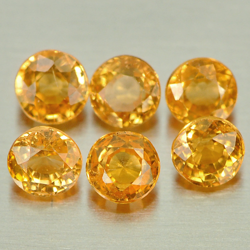 1.47 Ct. 6 Pcs. Round Shape Gems Natural Orange Spessartine Garnet Unheated