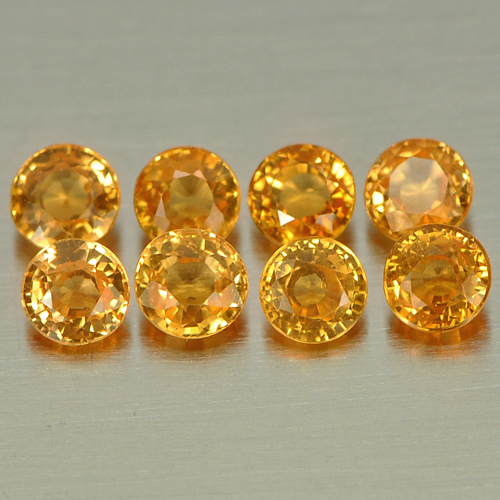 1.64 Ct. 8 Pcs. Round Shape 3.2 Mm. Natural Gemstones Orange Spessartine Garnet