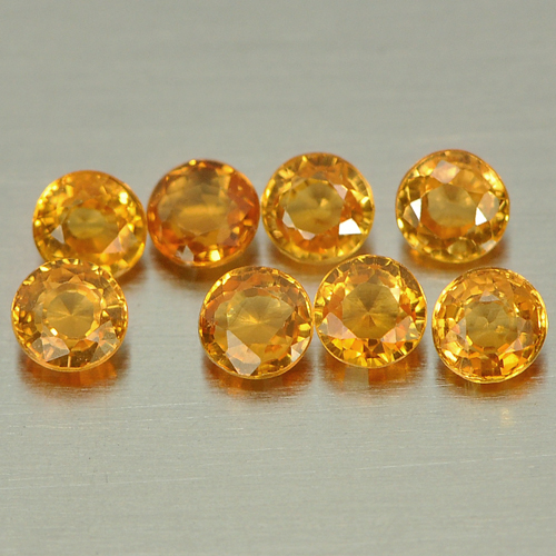1.25 Ct. 8 Pcs. Round Shape Gemstones Natural Orange Spessartine Garnet Unheated