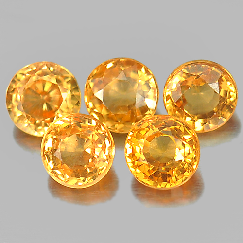 1.20 Ct. 5 Pcs. Round Shape Natural Gemstone Orange Spessartine Garnet Unheated
